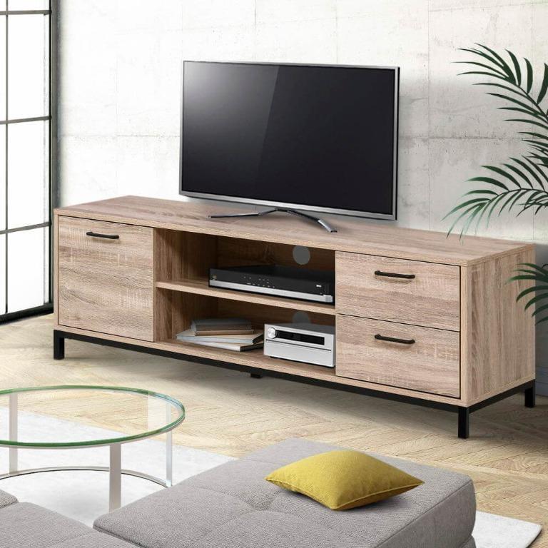 Artiss TV Cabinet Entertainment Unit Stand Industrial Wooden Metal Frame 132cm Oak