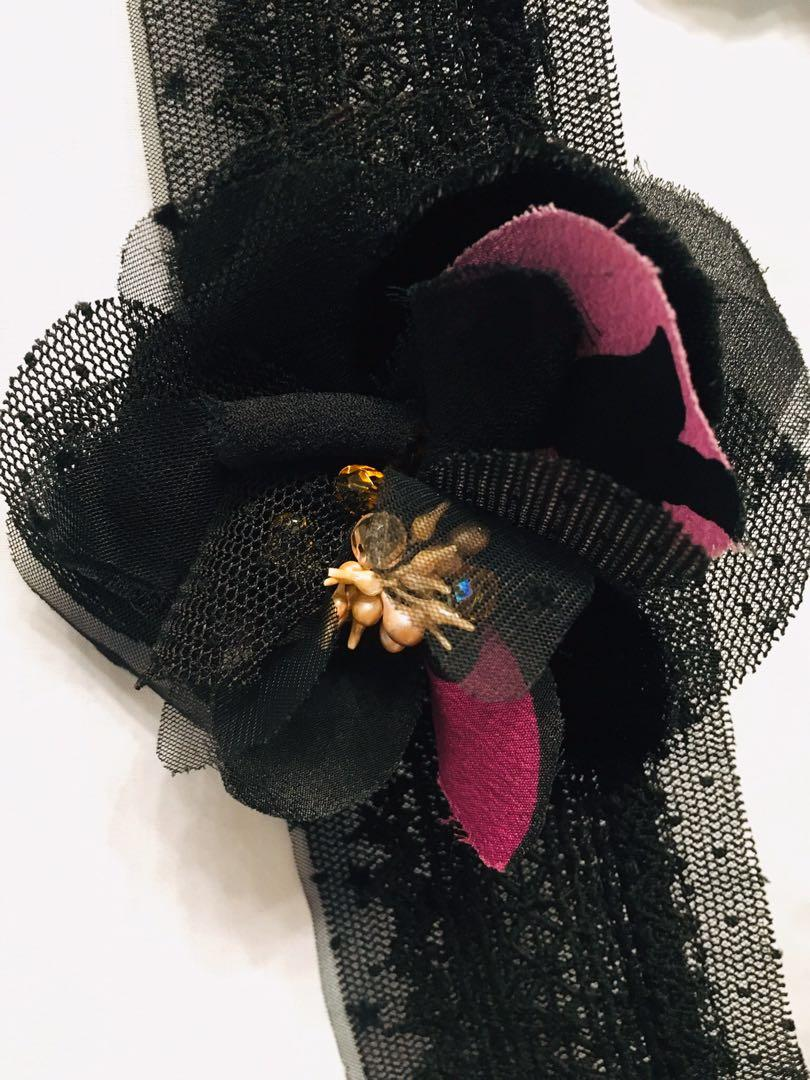 Black Tulle neck accessory with black+purple flower brooch
