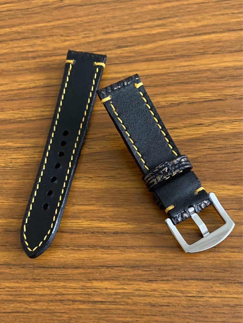22mm/20mm Authentic Black and Golden Brown Shark Leather Watch Strap with Golden Yellow Brown Stitching (second and last piece in 22/20, once sold, never coming back again 🙏🏻😊)
