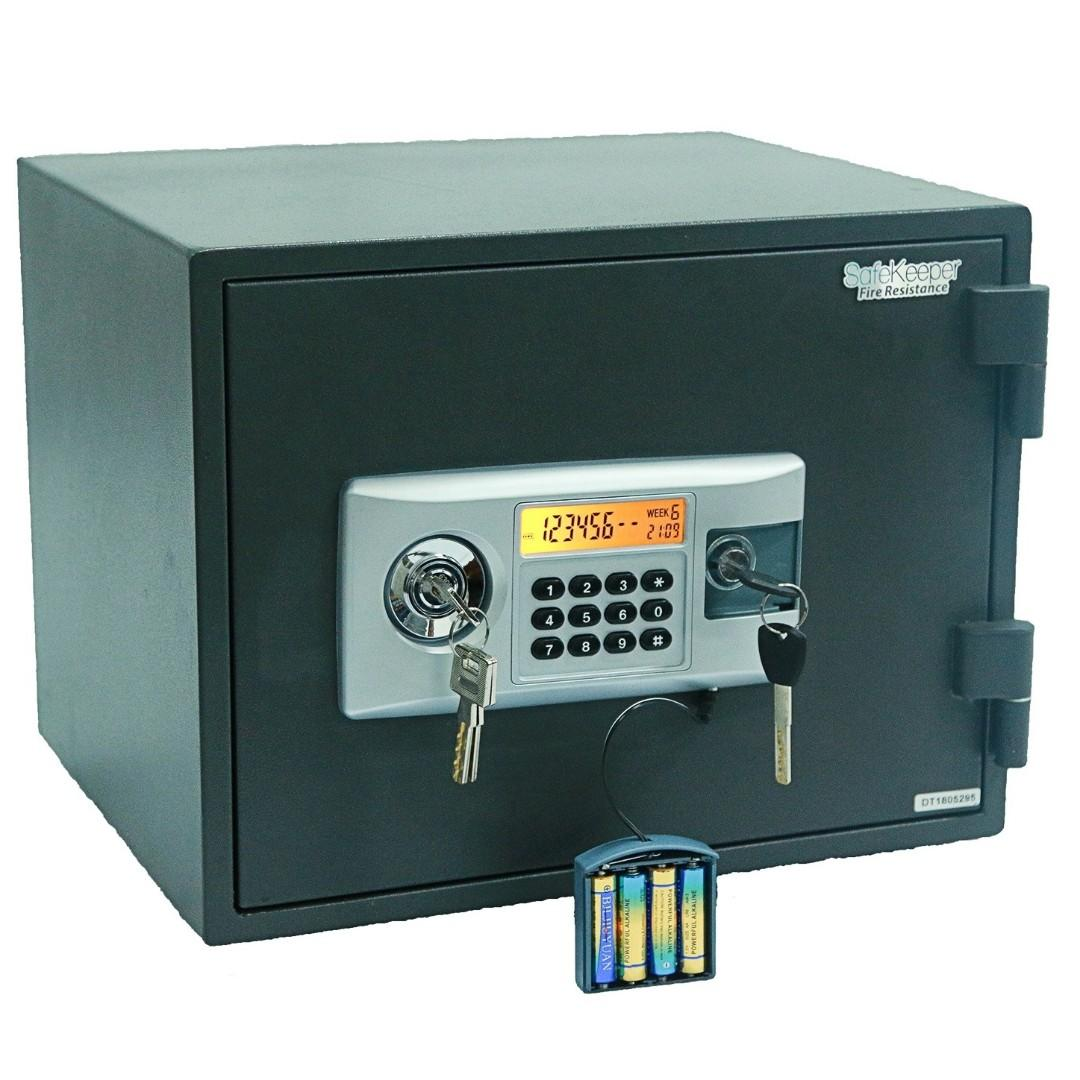 Home & Office Fire Resistance Security Electronic Safe Box - Safe with Mechanical Override Keys, Digital Combination Lock Safe, LED Low Battery Indicator, Emergency Battery Box.