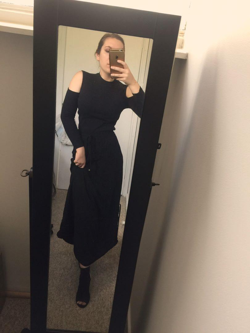 Long black skirt with adjustable sides - Into size 10