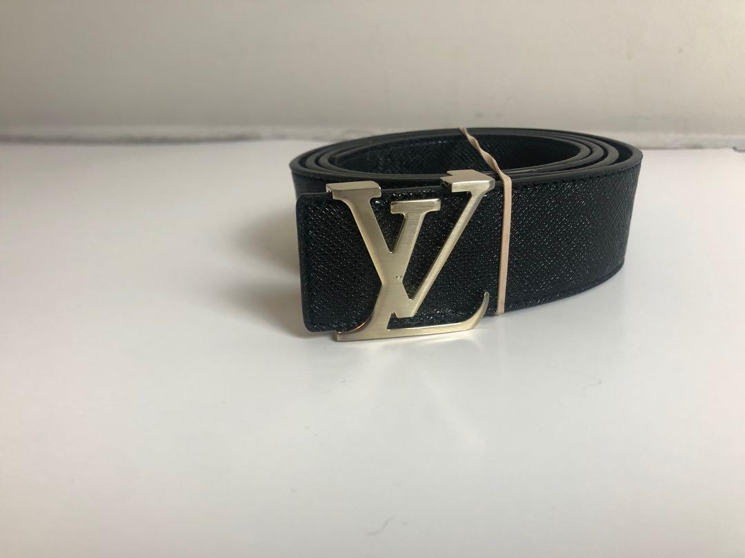 Louis Vuitton Like Black & Brown Leather Belt with LV Initials Buckle Mens