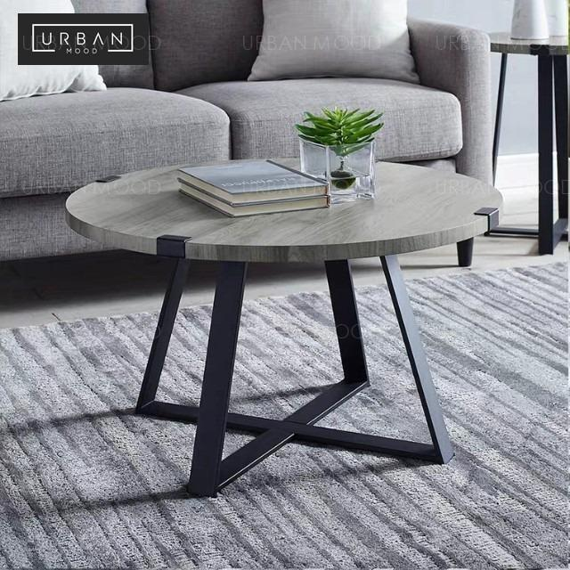 Matthias Modern Industrial Concrete Round Coffee Table Furniture Tables Chairs On Carousell