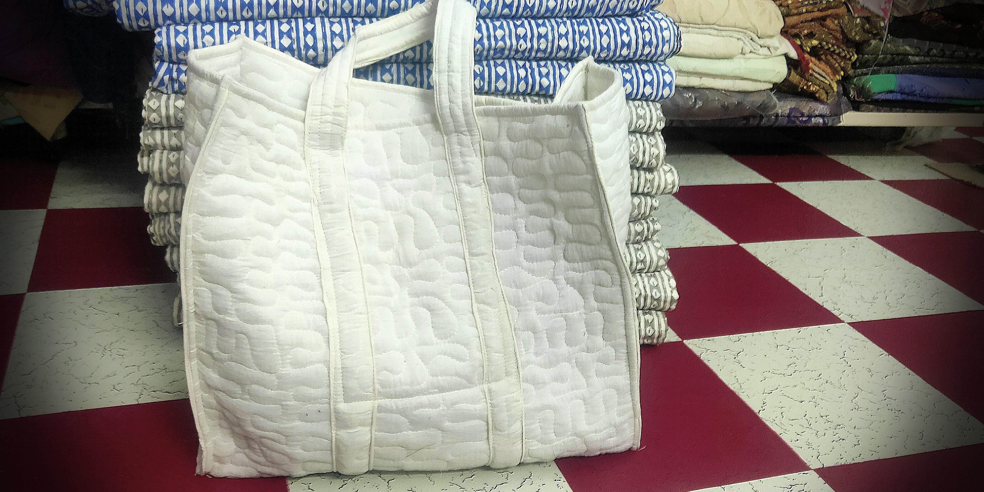 MCM Tote Bag , Block printed bags with leather straps,  cotton printed bags,  cotton handbags,  Tote bags
