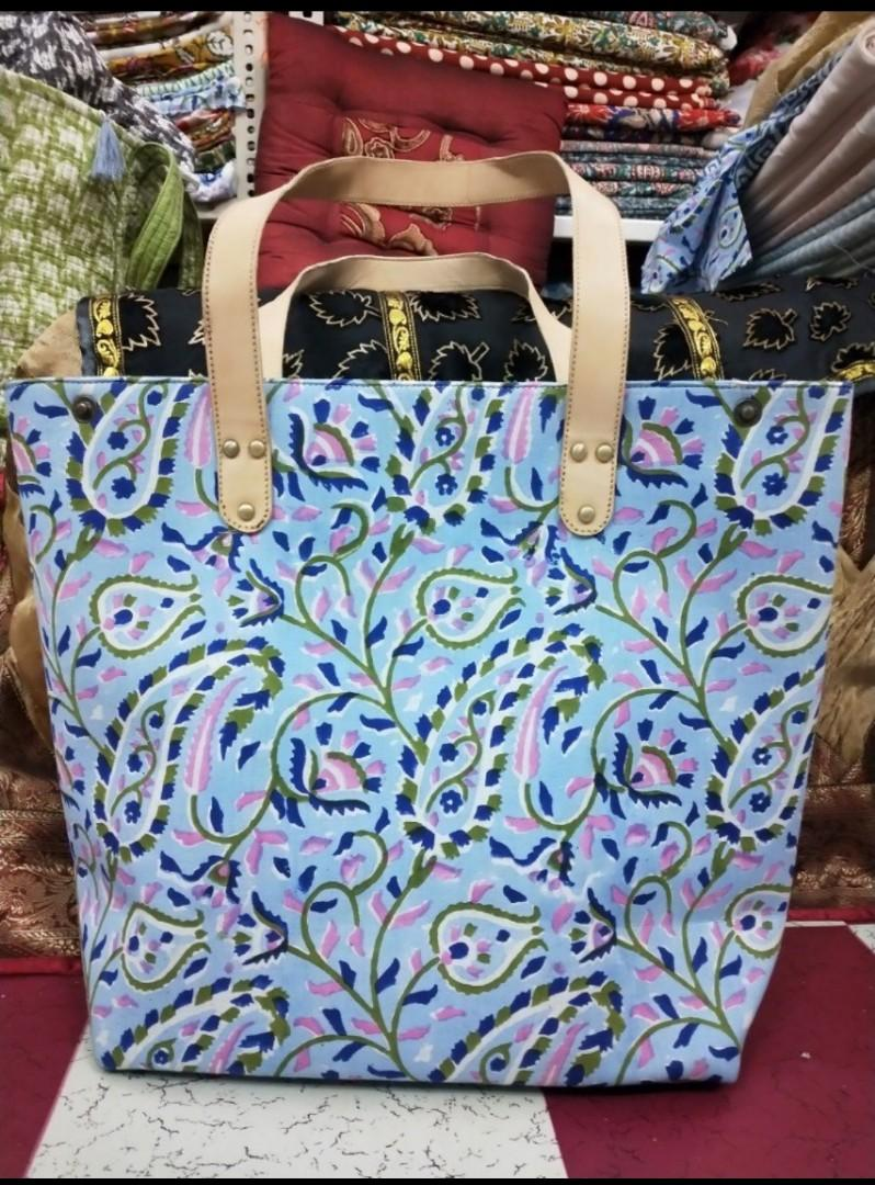 MCM tote bag,  Cotton printed bags with leather straps,  Handbags,  Cotton bags,  block print bags ,women's bags,  beach bags