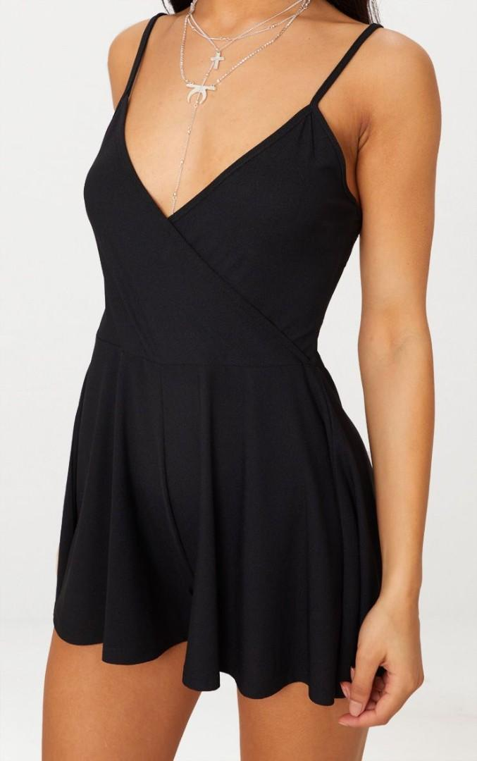 PrettyLittleThing - Black Crepe Strappy Wrap Playsuit