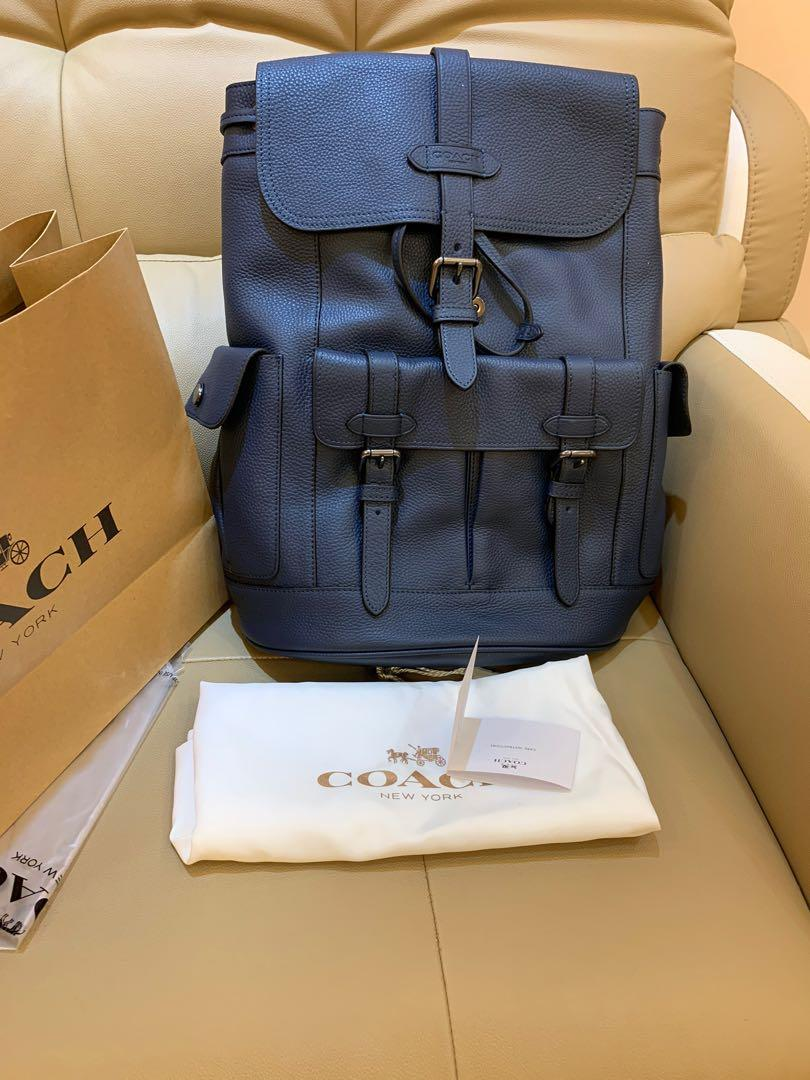 Ready stock authentic coach 36811 men traveller in leather navy  bag backpack school bag