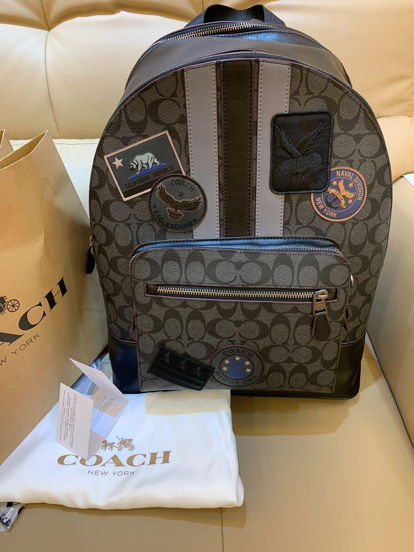 Ready Stock authentic coach men backpack 31335 Earle bagel laptop bag