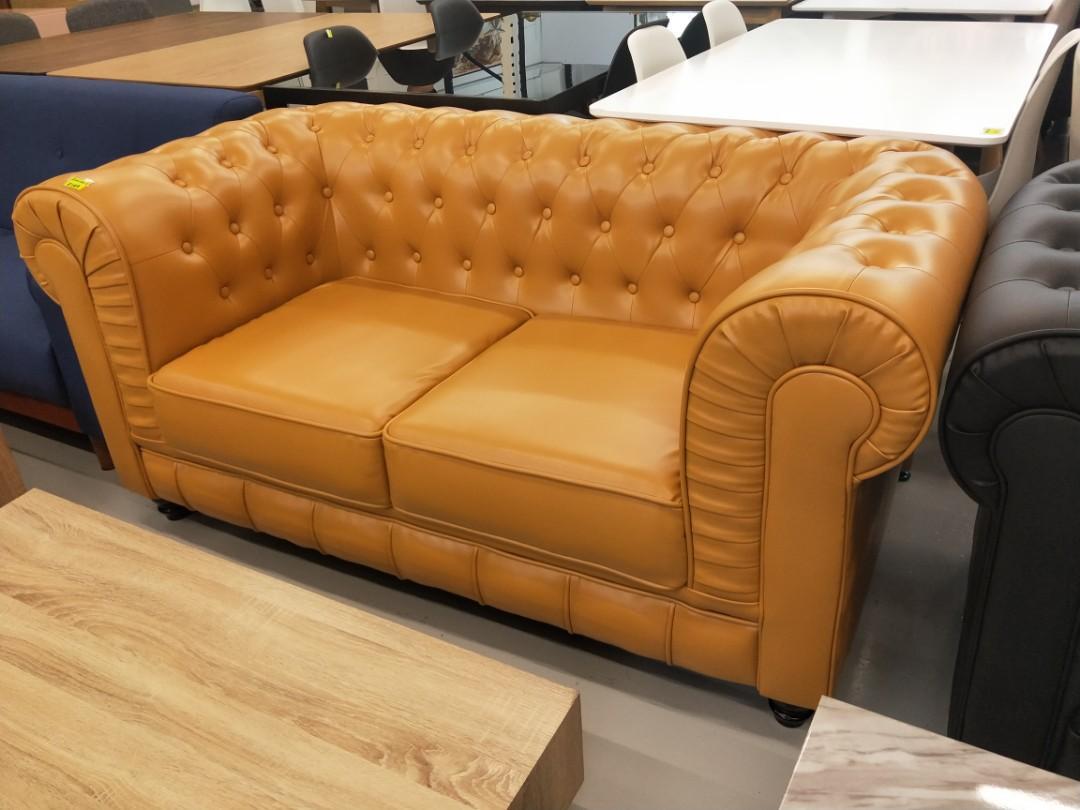 SALVADO II 2 Seater Classical Sofa in COGNAC PU