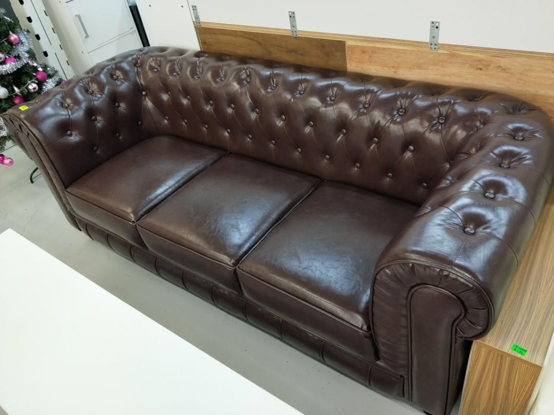SALVADO II 3 Seater Classical Sofa in BROWN PU