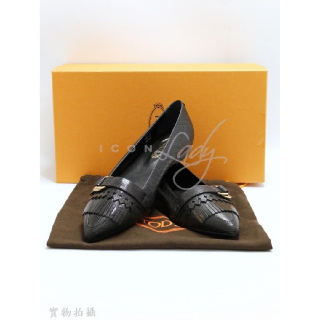 TODS 黑色皮革 平底鞋