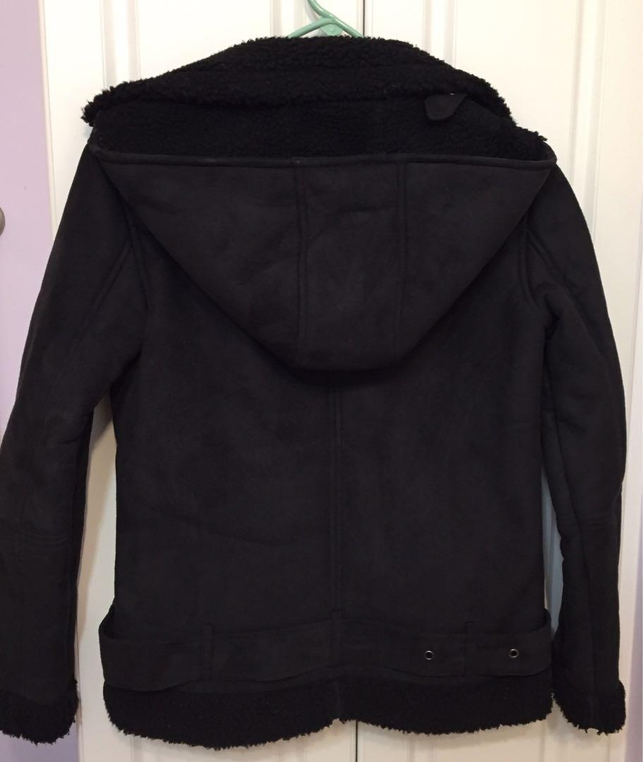 Urban Outfitters Silence + Noise Hooded Vegan Suede Sherpa Jacket
