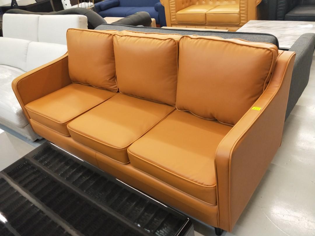 VALENTE 3 Seater Sofa in MATTE ORANGE BROWN PU