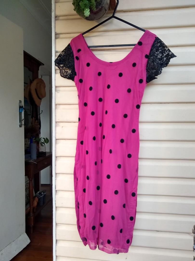 Vintage/Alternative Pink polka dot dress with side splits and lace