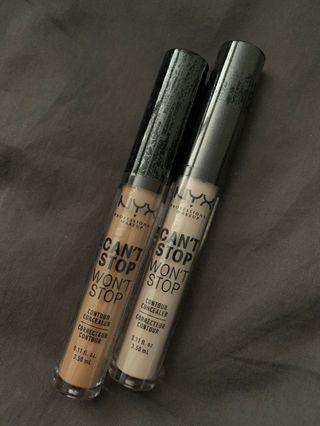 NYX Can't Stop Won't Stop Contour Concealers
