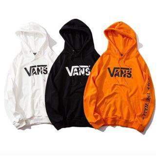 VANS 2019時尚冬季潮牌字母印花歐美滑板嘻哈連帽大學帽T