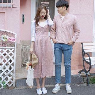 Salüt   COUPLE  甜蜜格紋情侶套裝(男襯衫+女洋裝) 粉色