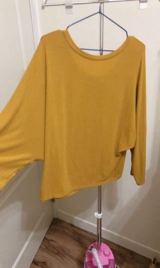 挖空飛鼠袖芥黃色上衣