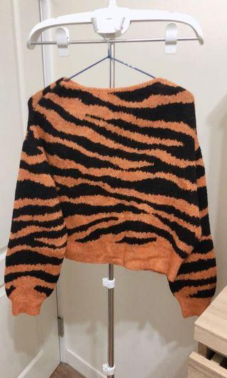 Mango豹紋條橫厚針織毛衣