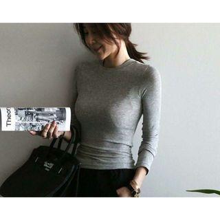 全新轉賣韓國東大門 法式圓領長袖素T 打底衫/內搭T 彈性萊卡棉 顯瘦 性感微透 售灰