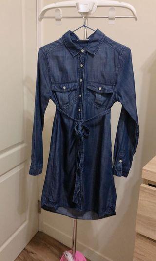 超美深藍牛仔綁帶連身長裙