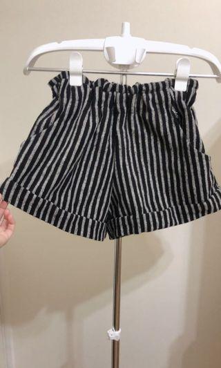 秋冬超厚條紋伸縮腰反折短褲