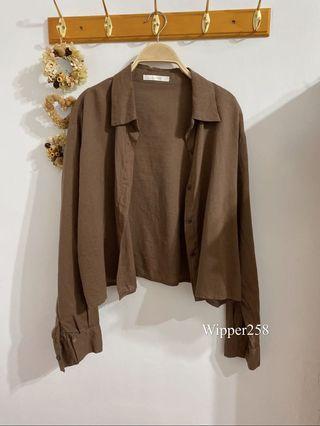 原價1380 近全新 轉賣韓貨賣家 新竹中正台candybox 咖色棉麻襯衫式短外套/外罩