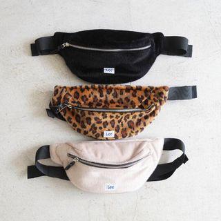 日本正品代購lee毛毛絨毛泰迪熊側背包小包腰包肩背包單肩包豹紋黑色米白色可愛日本流行日本限定棉花糖羔羊