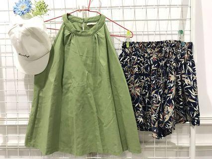 1 set PAZZO 綠色上衣+雪紡南洋風褲 #出清2019