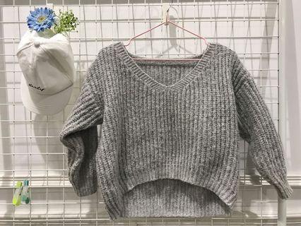 灰色短板毛衣 #出清2019