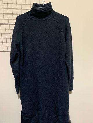 全新高領毛衣洋裝 (深藍綠)