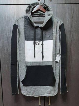 美國品牌CARBON HUSTLE 男黑灰拼色羅紋袖連帽T恤L