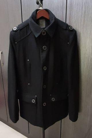 歐美品牌TRISTAN 男黑色混羊毛大衣46號