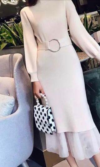 冬日氣質名媛針織連身紗裙洋裝
