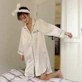 絲質長袖睡衣