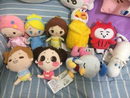 各種20公分娃娃 雙子星、啾啾妹、唐老鴨、迪士尼公主