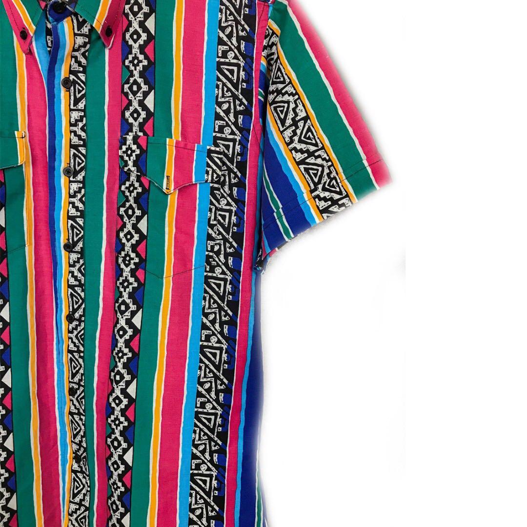 美國老品♨️美國製直條紋圖騰短袖襯衫♨️古著 復古 二手 稀有 少見