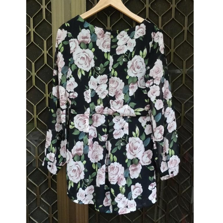 ALLYFASHION Floral Long Sleeve Playsuit Deep V Plunge Neck Shorts One Piece Chiffon Flowy Sleeves