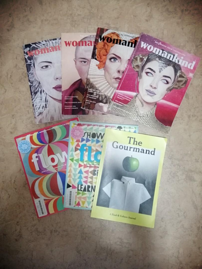 Assortment if magazines: womankind, flow, the gourmand,