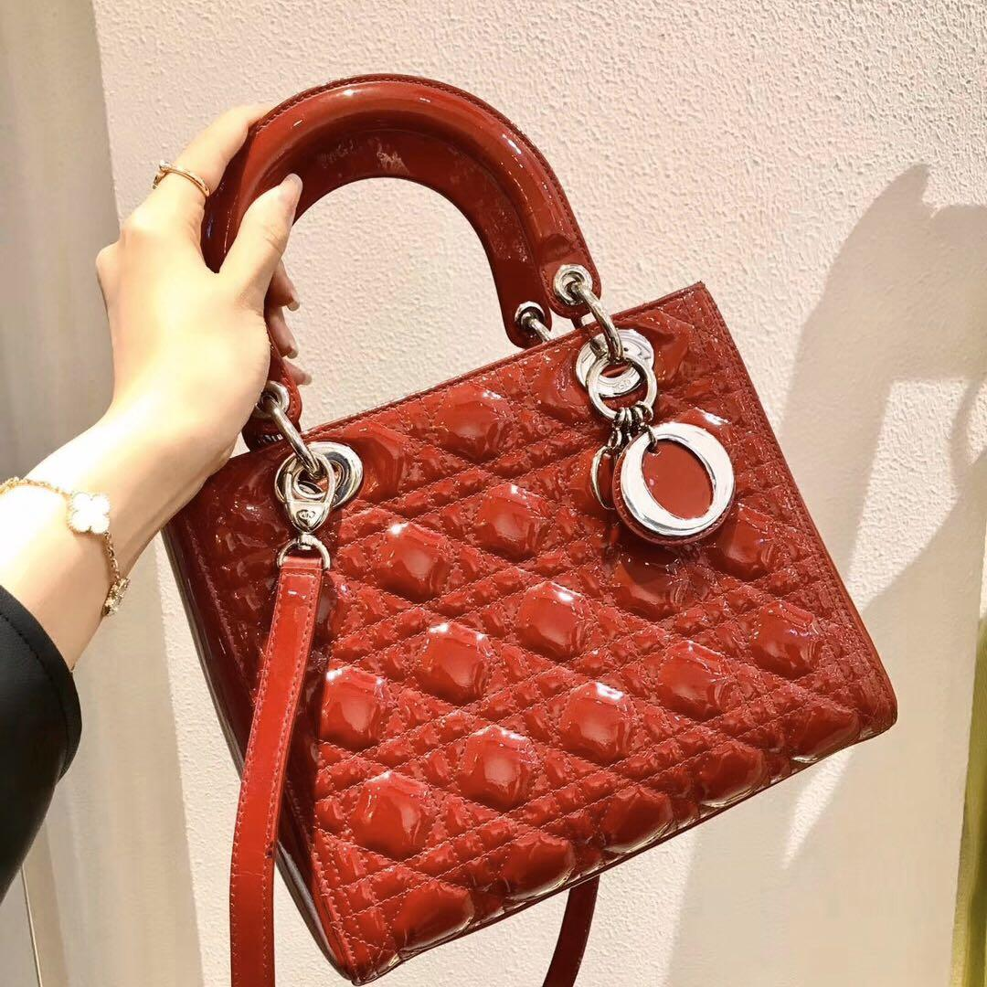 Authentic Pre-loved Christian Dior Medium Dark Red Lady Dior Patent Leather