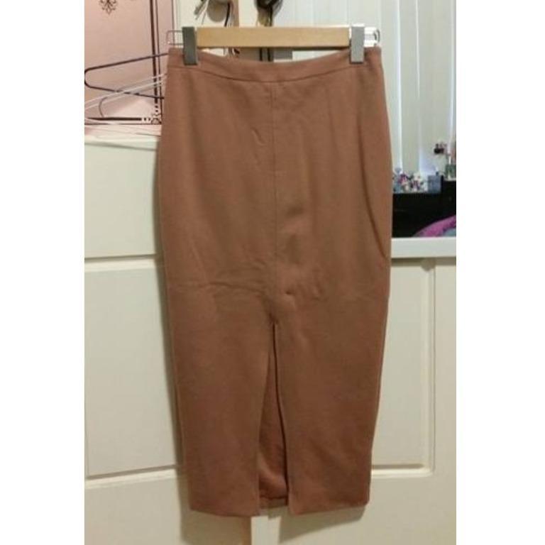 BARDOT Camel Midi Skirt Split Front Detail Bodycon Tight Tan Brown