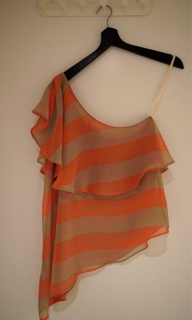 BCBGeneration One-Shoulder Orange & Brown Striped Top Size 6