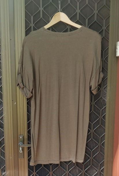BERSHKA Khaki T-Shirt Dress Mini Loose Oversized Kardashian MissPap NastyGal