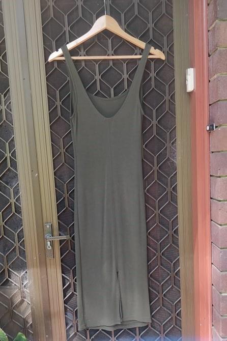 BERSHKA Midi Dress Square Neck Singlet Tank Bodycon Split Back Miss Selfridge Kookai