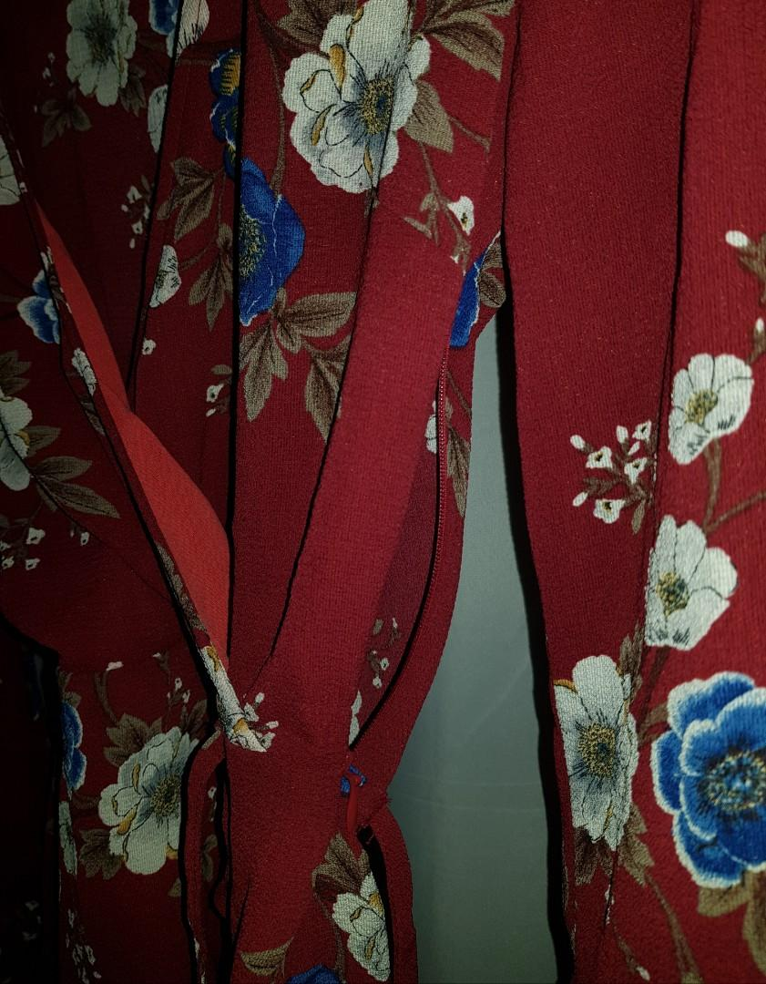 Caroline Morgan Dark Red Burgundy Flower Floral Wrap Tie Top