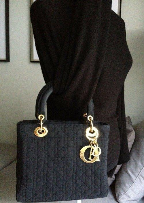 "CD CHRISTIAN DIOR LADY DIOR BLACK CANNAGE QUILTED GOLD CHARM 9.5"" BAG WITH SCARF"