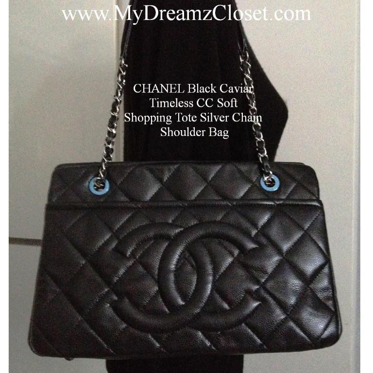 CHANEL Black Caviar Timeless CC Soft Shopping Tote Silver Chain Shoulder Bag