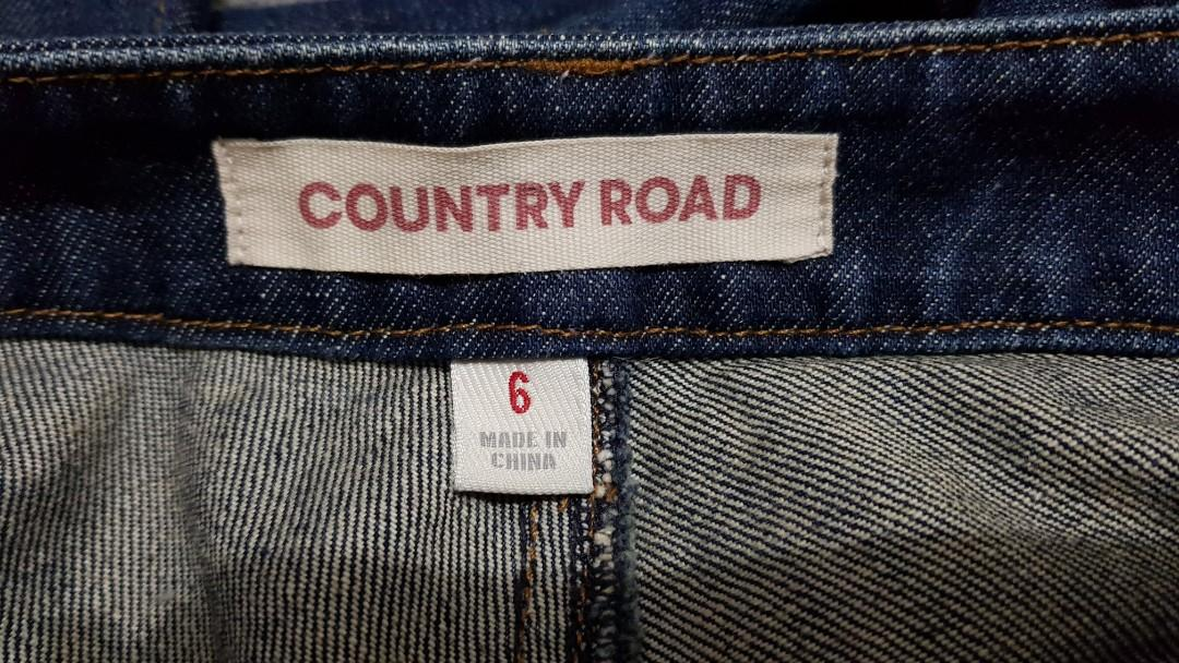 COUNTRY ROAD Womens Blue Denim Flare Cropped Jeans