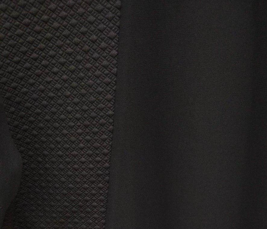 DOLLYGIRL Black Textured Top Sheer Panel Details Short Sleeve Stelly Showpo Glassons Dotti