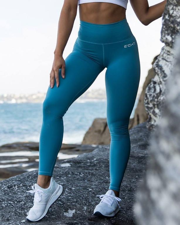 ECHT Force Dry Leggings Storm Blue Small Workout Yoga Exercise Pants Baby Light